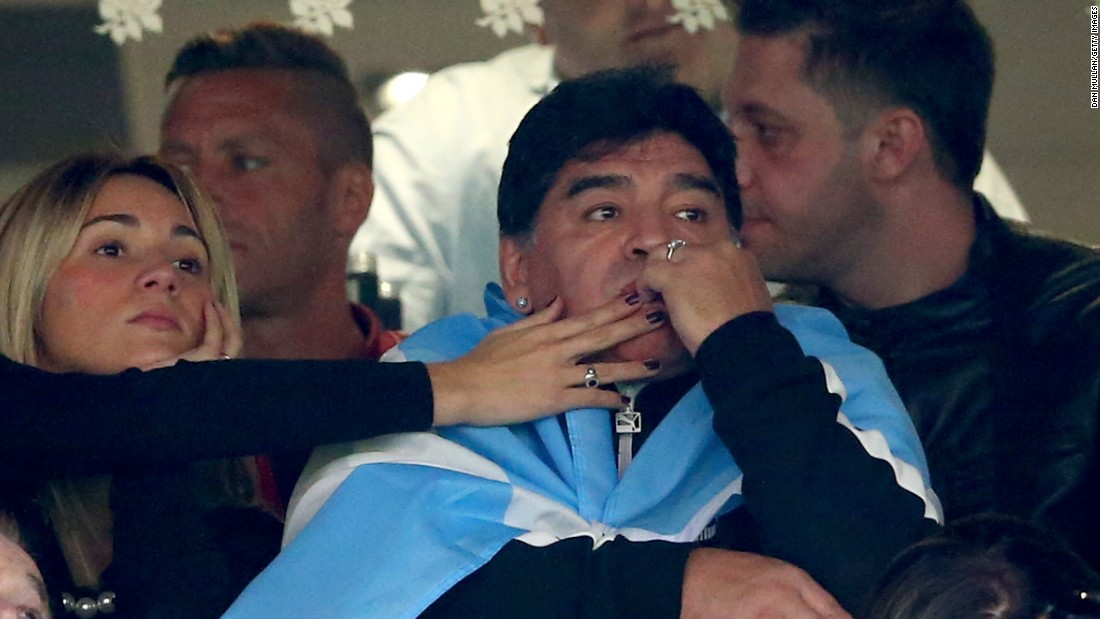 Football legend Diego Maradona looks dejected as he sees his Argentina team slipping to defeat against Australia.