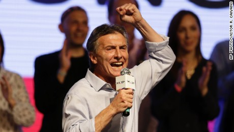 Mauricio Macri speaks to supporters in Buenos Aires on October 25.