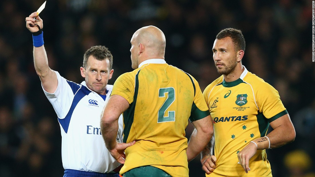 Owens has won praise for the way he referees rugby matches. The Welshman is pictured giving Australia's Quade Cooper a yellow card during a Rugby Championship match against the All Blacks in August.