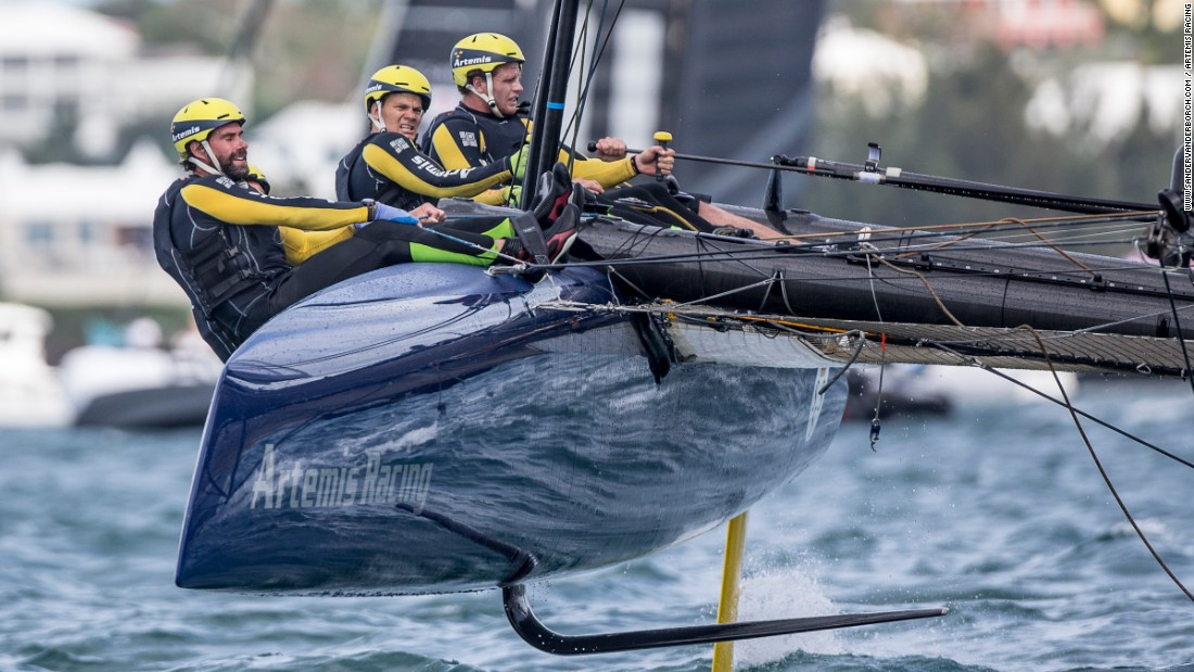 "The head-on crash would have been in excess of 25 knots (28 mph). ""At that point we couldn't go anywhere,"" Artemis Racing skipper Nathan Outteridge told the America's Cup website. ""He went straight between our bows but thankfully nobody was hurt. There was a serious amount of damage to our boat though."""