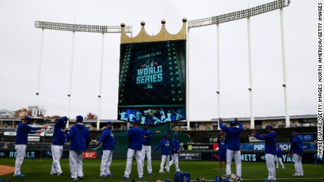 KANSAS CITY, MO - OCTOBER 26:  A general view of Kauffman Stadium as the Kansas City Royals workout the day before Game 1 of the 2015 World Series between the Royals and New York Mets on October 26, 2015 in Kansas City, Missouri.  (Photo by Jamie Squire/Getty Images)