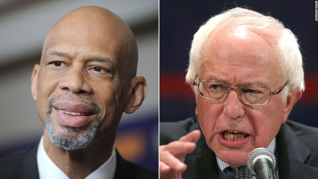 NBA Hall-Of-Famer Kareem Abdul-Jabber penned a scathing editorial against Trump in The Washington Post, while endorsing Bernie Sanders (right).