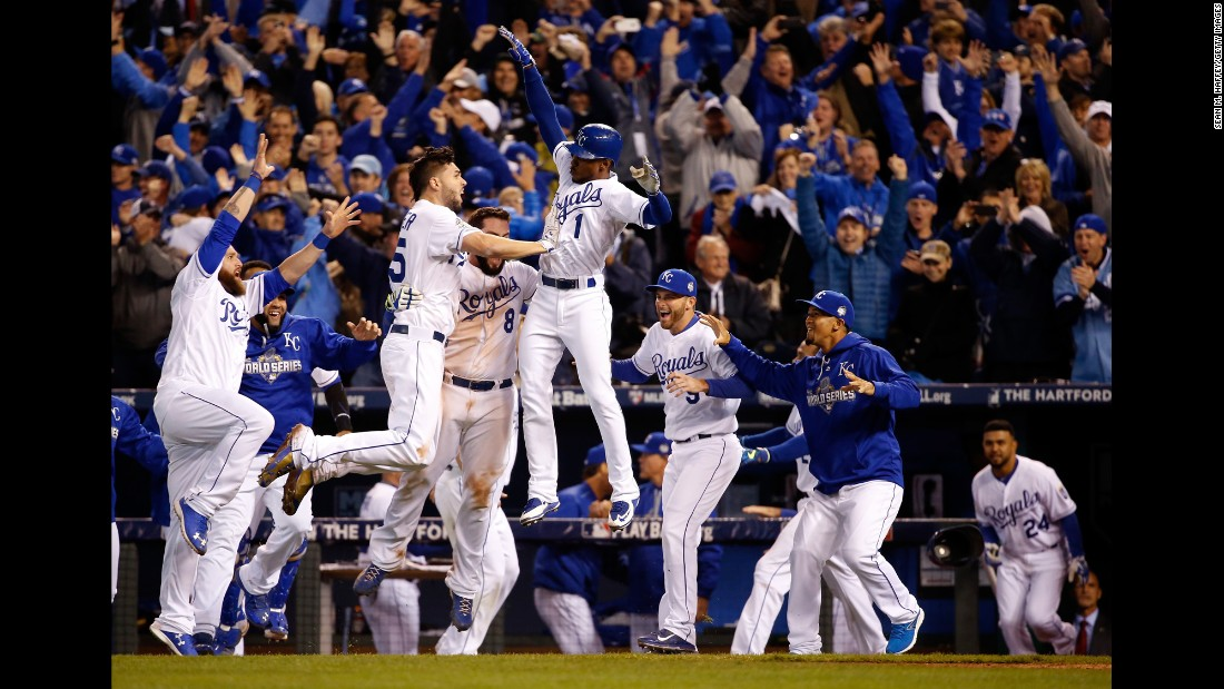 "The Kansas City Royals celebrate their 5-4 win against the New York Mets after 14 innings in<a href=""http://www.cnn.com/2015/10/27/us/world-series-mets-royals-game-1/index.html""> Game 1 of the World Series</a> at Kauffman Stadium in Kansas City, Missouri on Tuesday, October 27."