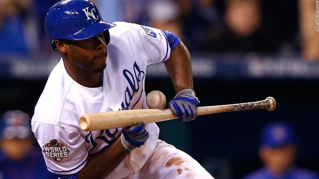 Kansas City's Lorenzo Cain attempts to bunt.
