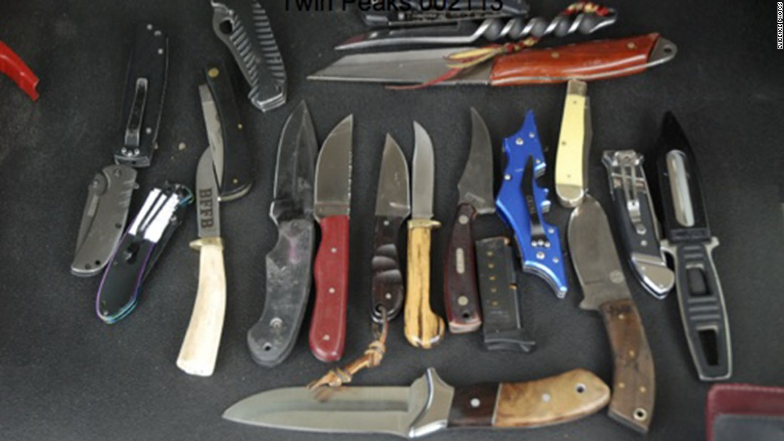 Police recovered many knives from the scene.