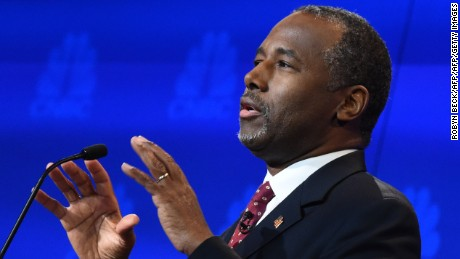 Republican Presidential hopeful Ben Carson speaks during the CNBC Republican Presidential Debate, October 28, 2015 at the Coors Event Center at the University of Colorado in Boulder, Colorado.