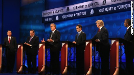 Presidential candidates Ohio Governor John Kasich (L-R), Mike Huckabee, Jeb Bush, Sen. Marco Rubio (R-FL), Donald Trump, Ben Carson take part in the CNBC Republican Presidential Debate at University of Colorados Coors Events Center October 28, 2015 in Boulder, Colorado.