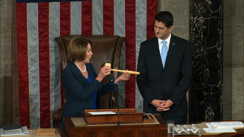 Nancy Pelosi passes gavel to House Speaker Paul Ryan