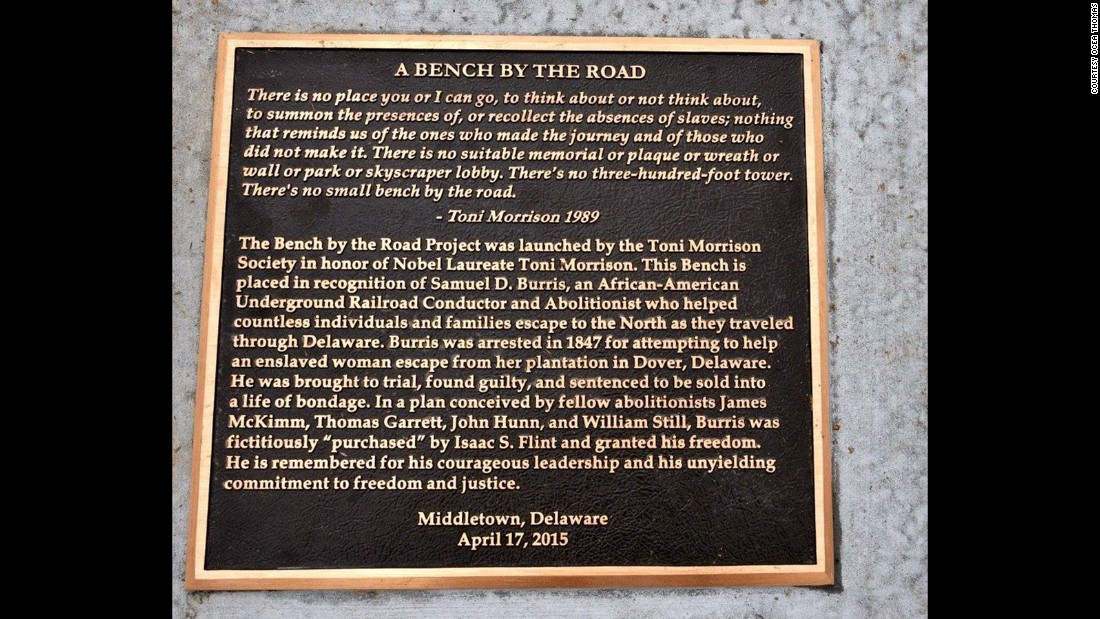 The marker for the bench monument in Middletown, Delaware, details Burris' actions and that of a white abolitionist.