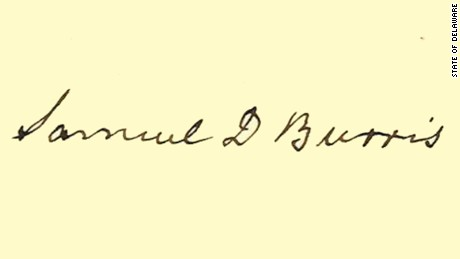 "Bev Laing, a Delaware state historian, said of Burris: ""The first time I saw his signature it was very powerful."""