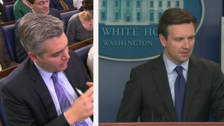 josh earnest jim acosta syria exchange_00000000
