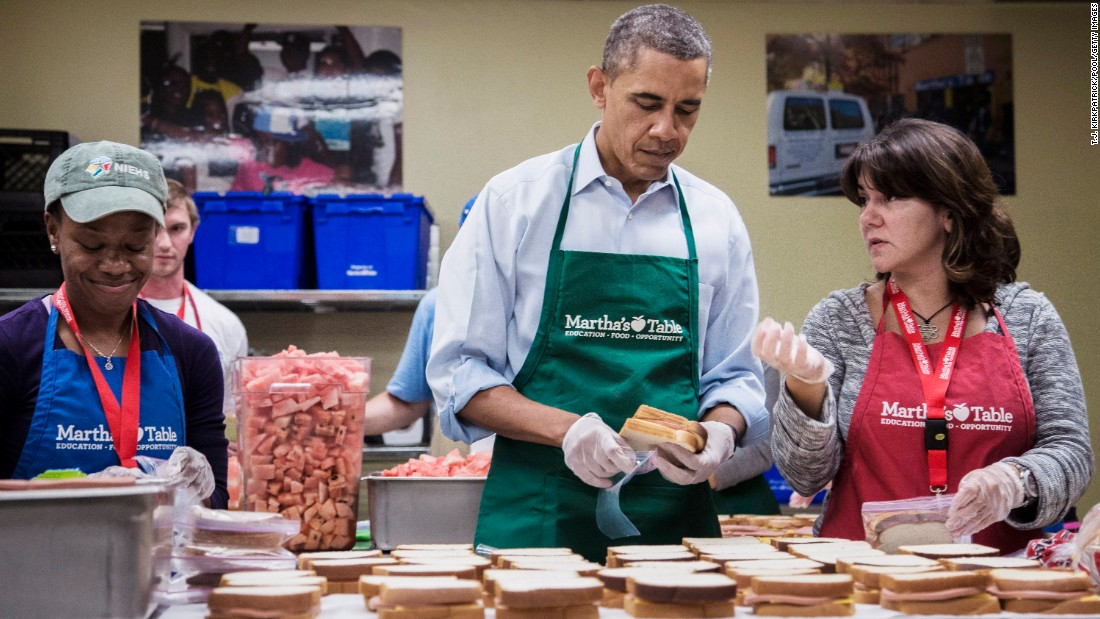 The basic ham sandwich was named the second-most popular sandwich in the country  in a 2014 survey. Here President Barack Obama helps volunteers bag ham-and-cheese sandwiches at a Martha's Table kitchen in October 2013 in Washington, D.C.