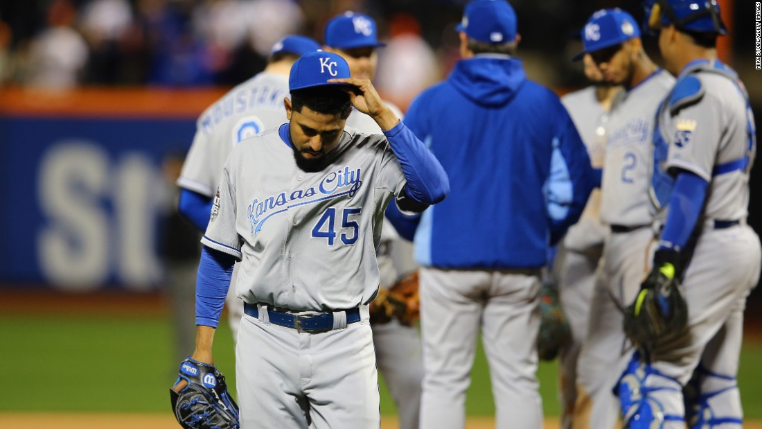 Royals relief pitcher Franklin Morales gets pulled from the game.