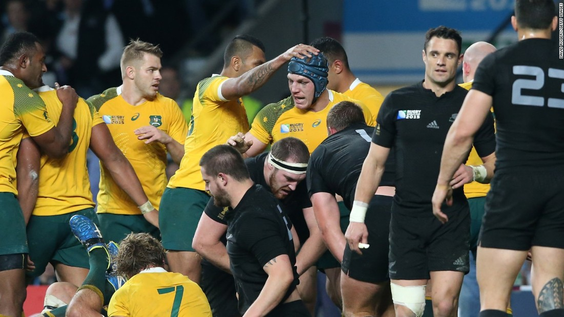 David Pocock of Australia is congratulated by his teammates after dragging his side back into the final with its first try.