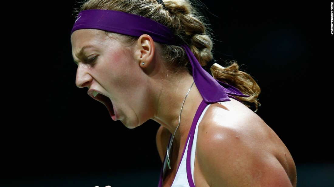 Kvitova of Czech Republic reacts to a point against Maria Sharapova in the way to a surprise victory over the Russian in the WTA Finals.
