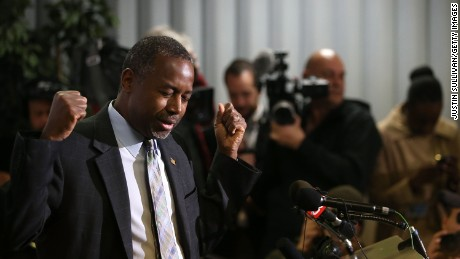 Republican presidential candidate Ben Carson speaks during a news conference before a campaign event at Colorado Christian University on October 29, 2015 in Lakewood, Colorado.