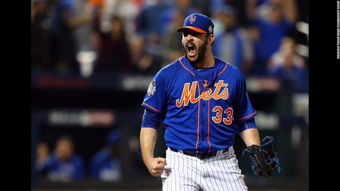 Matt Harvey of the Mets reacts to striking out the side in the fourth inning.
