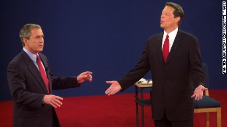 George W. Bush and Al Gore debate at Washington University in St. Louis on October 17, 2000.