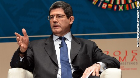 Brazilian Minister of Finance Joaquim Levy, takes part in a debate group moderated by British CNN news presenter Richard Quest, and with the co-participation of IMF Managing Director Christine Lagarde and Mark Carney Governor of the Bank of England (neither in picture), on the subject of Debate on the Global Economy during the World Bank Group and International Monetary Fund (IMF) Annual Meetings in Lima, Peru on October 8, 2015.  AFP PHOTO/CRIS BOURONCLE        (Photo credit should read CRIS BOURONCLE/AFP/Getty Images)