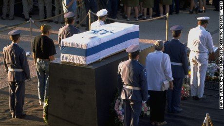 IDF honor guard flank Rabin's flag-draped coffin during a public viewing at Knesset on November 5, 1995.