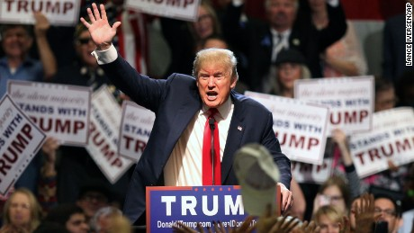 Republican presidential candidate Donald Trump gestures as he speaks during a rally at the Nugget Convention Center in Sparks, Nev., Thursday, Oct. 29, 2015. (AP Photo/Lance Iversen)
