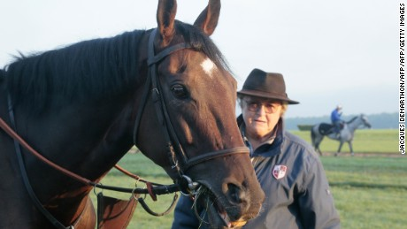 "French racehorse trainer Christiane Head-Maarek is pictured with 5-year-old French Thoroughbred racehorse ""Treve"" in Gouvieux, north of Paris, during early training on September 23, 2015. Head is hoping to win the 94th Qatar Prix del'Arc De Triomphe horse race for the third time in a row with Treve , on October 4, 2015. AFP PHOTO / JACQUES DEMARTHON        (Photo credit should read JACQUES DEMARTHON/AFP/Getty Images)"