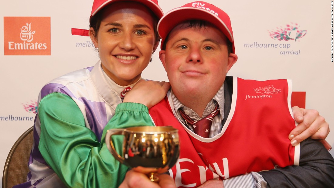 Payne celebrated her triumph with brother Stevie, who has Down syndrome. Stevie works as her strapper.