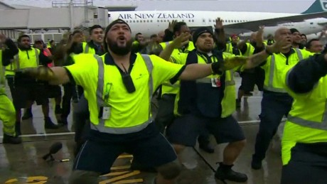 Moment airport staff give All Blacks a homecoming Haka