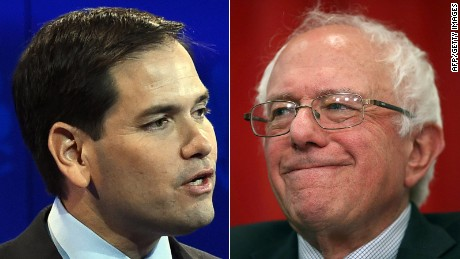 Florida Sen. Marco Rubio and Vermont Sen. Bernie Sanders won delegates on Sunday.
