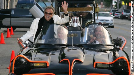 George Barris rides in the Batmobile at a 2006 event in Beverly Hills.