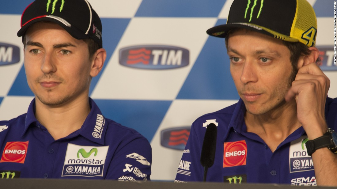 Champions elect: Either Valentino Rossi (right) or Jorge Lorenzo will be crowned the 2015 MotoGP champion in Valencia on Sunday.