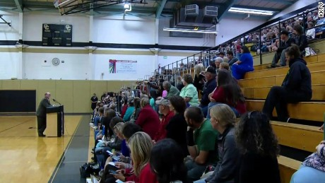 Parents gather for a meeting in Canon City, Colorado, about a high school sexting scandal.