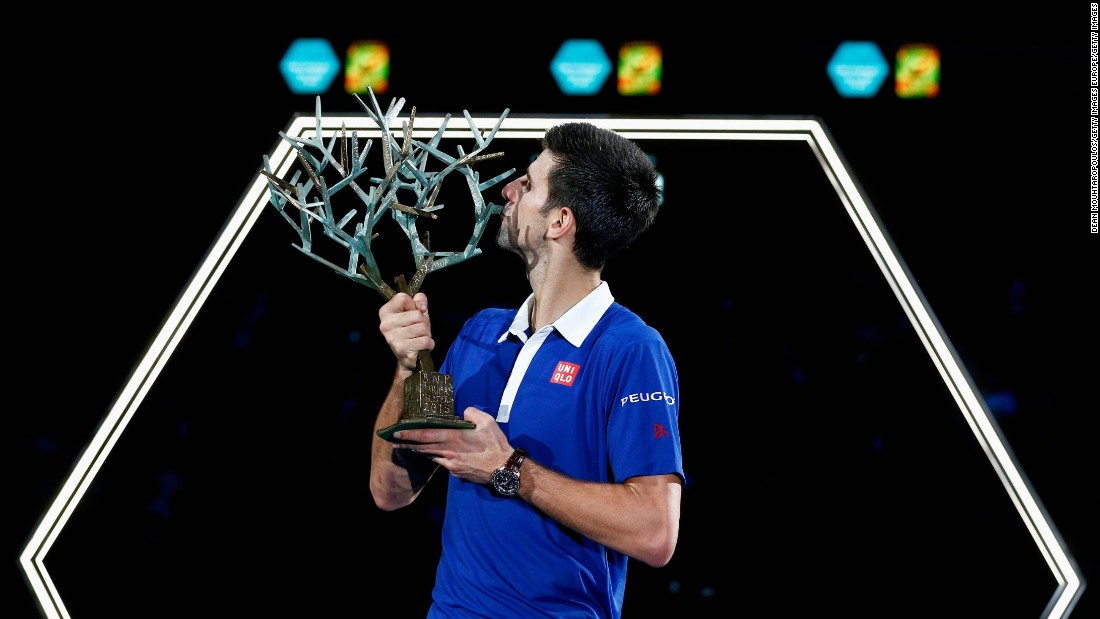 Novak Djokovic secured his 10th title of the year with victory over Andy Murray at the Paris Masters final.