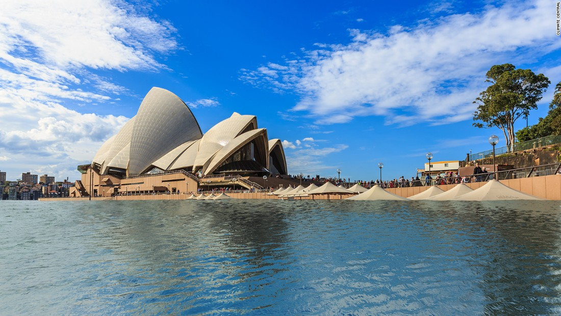 At four degrees, water would start to lap at the stairs of the Opera House, the report says.