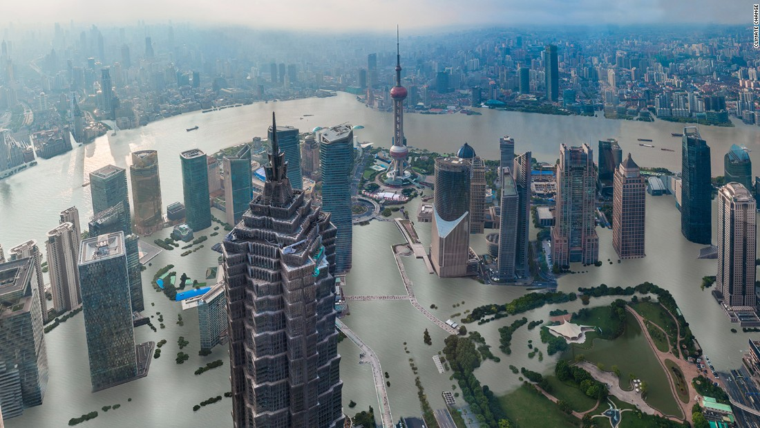 Shanghai, if temperatures were to rise by four degrees.