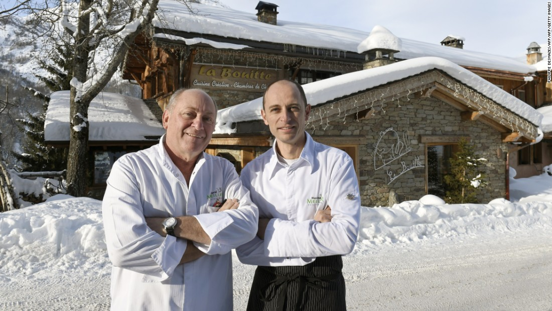 "French chefs Rene Meilleur (left) and his son Maxime pose in front of <a href=""http://www.la-bouitte.com/en/"" target=""_blank"">La Bouitte</a>, in Saint-Martin-de-Belleville in the French Alps. Their restaurant won three stars in the 2015 Michelin Guide, making it one of the best in the world."