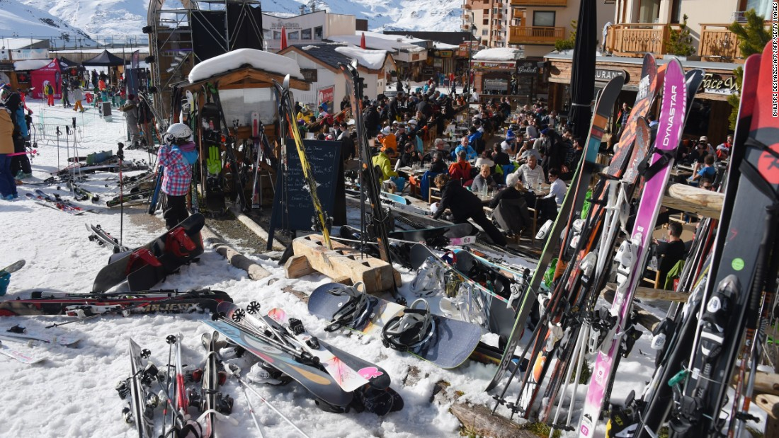 A throng of skiers take a break at a restaurant at the Val Thorens ski resort in the French Alps.