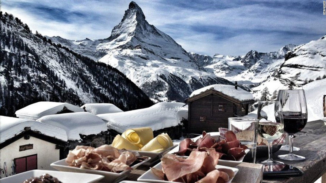 "Housed in a 100-year-old building in Zermatt, Switzerland, <a href=""http://www.chezvrony.ch/de/restaurant/index.php"" target=""_blank"">Chez Vrony</a> offers stunning views of the Matterhorn. Its treats include homemade cheeses, sausages and meats, as well as the house speciality -- Vrony burger."