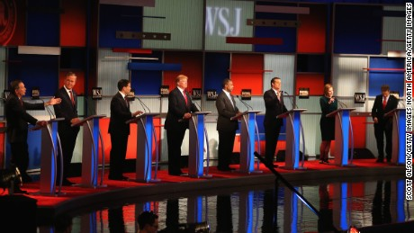 MILWAUKEE, WI - NOVEMBER 10:  Presidential candidates Ohio Governor John Kasich (L-R) speaks while Jeb Bush, Sen. Marco Rubio (R-FL), Donald Trump, Ben Carson, Ted Cruz (R-TX), Carly Fiorina, and Sen. Rand Paul (R-KY) take part in the Republican Presidential Debate sponsored by Fox Business and the Wall Street Journal at the Milwaukee Theatre November 10, 2015 in Milwaukee, Wisconsin. The fourth Republican debate is held in two parts, one main debate for the top eight candidates, and another for four other candidates lower in the current polls.  (Photo by Scott Olson/Getty Images)