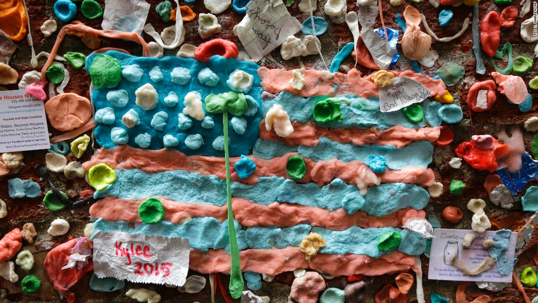 A United States flag made from pieces of gum is one decoration that will come off the wall.