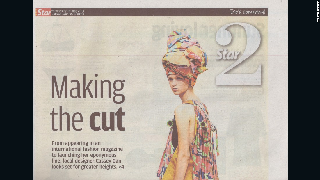 Budding fashion designer Gan was featured in one of Malaysia's national newspapers in 2014.