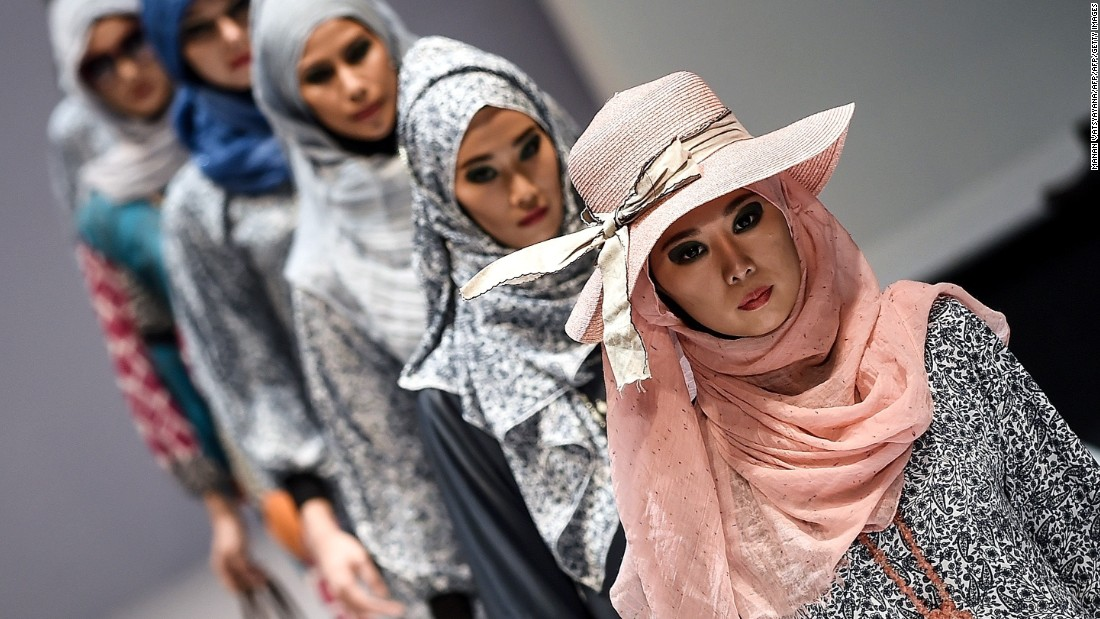 Models at the 2015 Kuala Lumpur Fashion Week are seen wearing another designer, named 'Yan's Creations', whose creations were shown off for the Islamic fashion show.