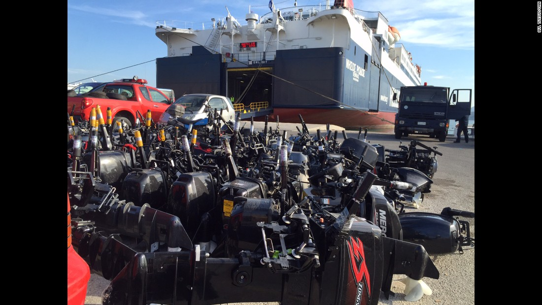 Confiscated boat motors at the customs area in Lesbos. Officers there say this is just a tiny fraction of the motors they have impounded from refugee dinghies coming to the island from Turkey.