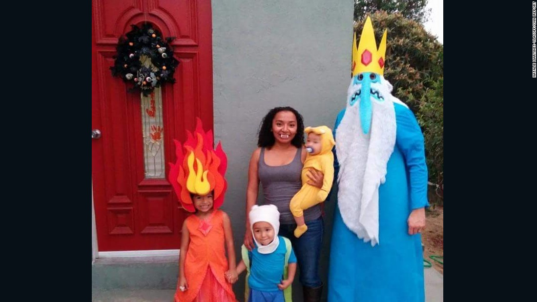 "The family dressed up as ""Adventure Time"" characters for Halloween in 2014."