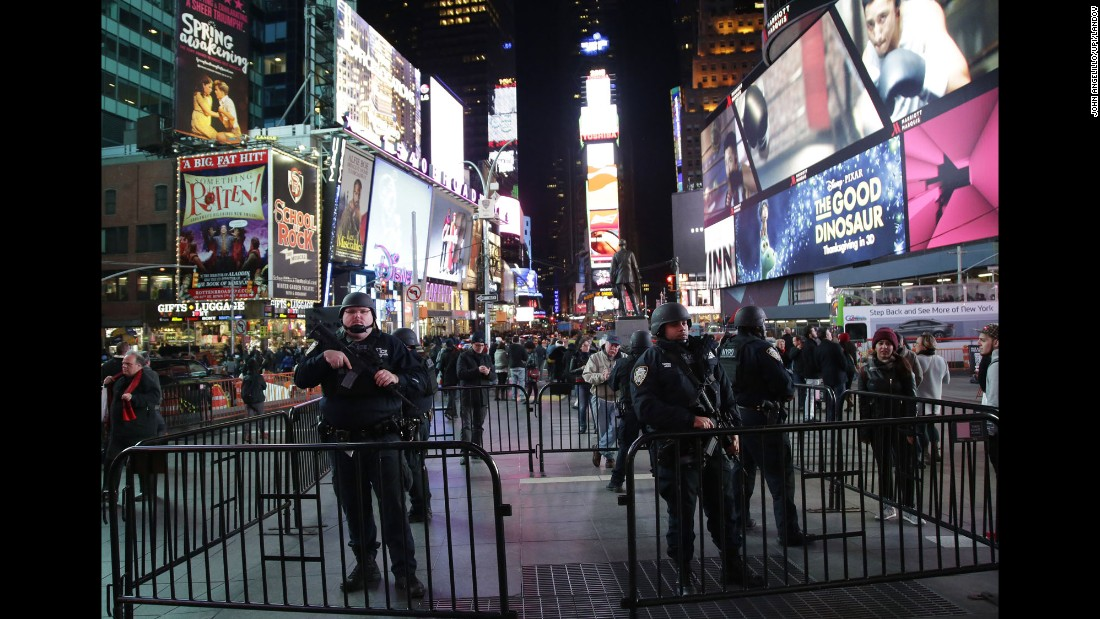 Police show a heightened presence in Times Square in New York on November 13,  following the terrorist attacks in Paris.
