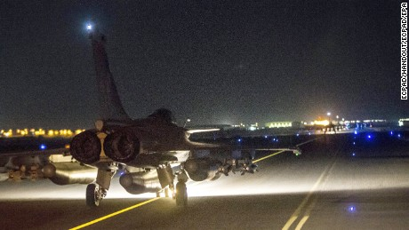 French jets bomb Syria in the ISIS stronghold of Raqqa