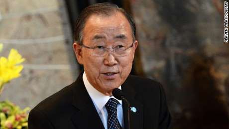 NEW YORK, NY - OCTOBER 23:  United Nations Secretary-General Ban Ki-moon visits The Empire State Building on October 23, 2015 in New York City.