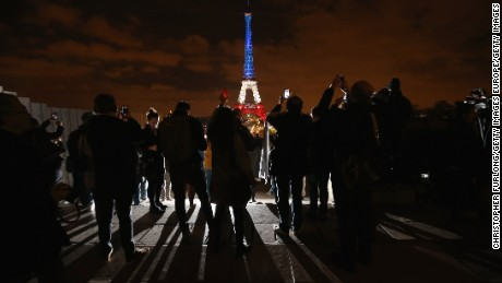 The Eiffel Tower is illuminated in Red, White and Blue in honour of the victims of Friday's terrorist attacks in Paris.
