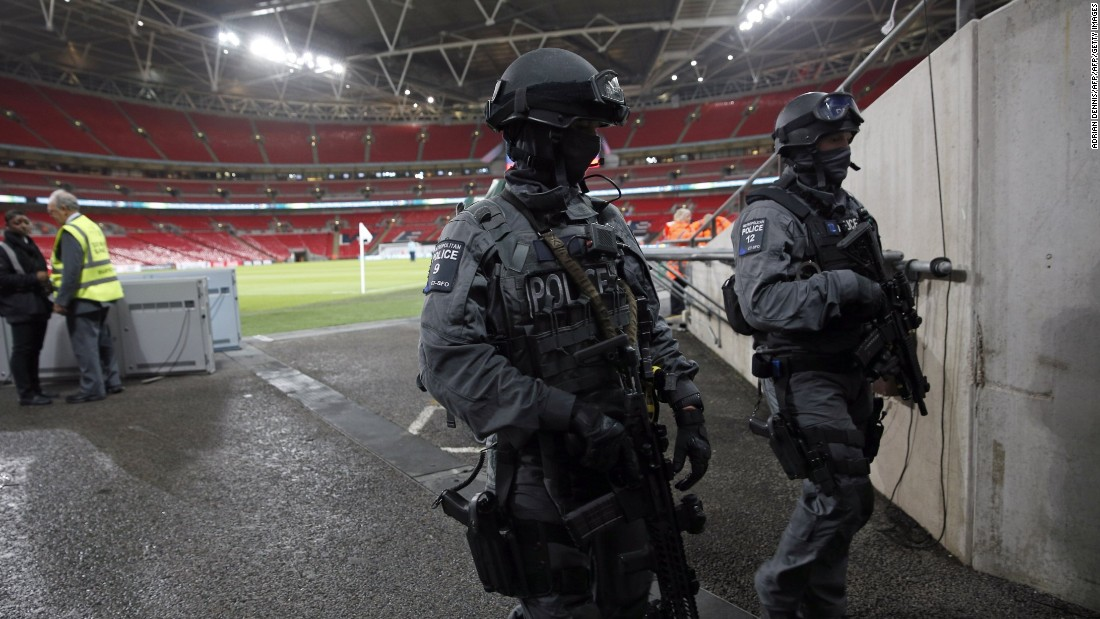 British counter terror specialist firearms officers (CTSFO) patrol inside Wembley ahead of the friendly match.