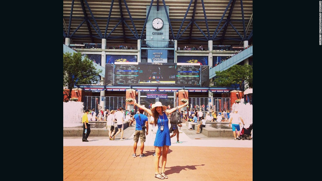"Kelsey, who also acts as accountant for ""Team Kevin,"" is pictured at the 2015 U.S. Open.<br />"